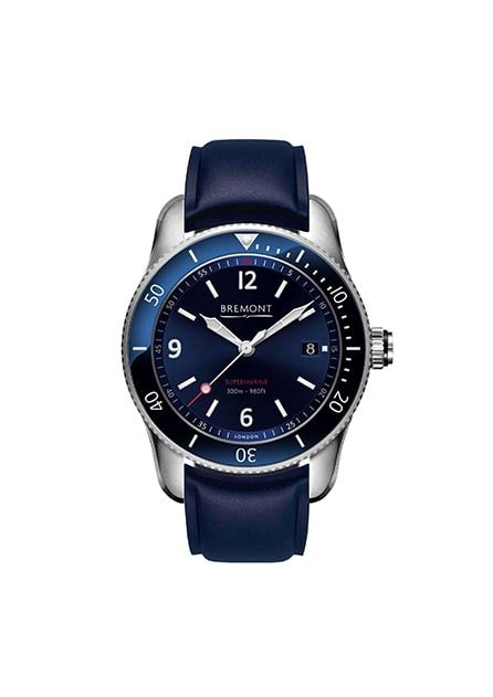 Bremont S300 blue front and blue leather strap