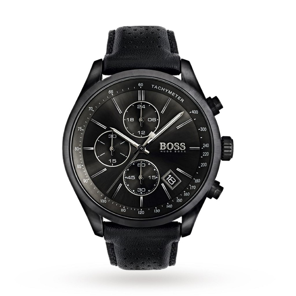 Hugo Boss Men's Grand Prix Chronograph Watch with black dial and black ion-plated steel case