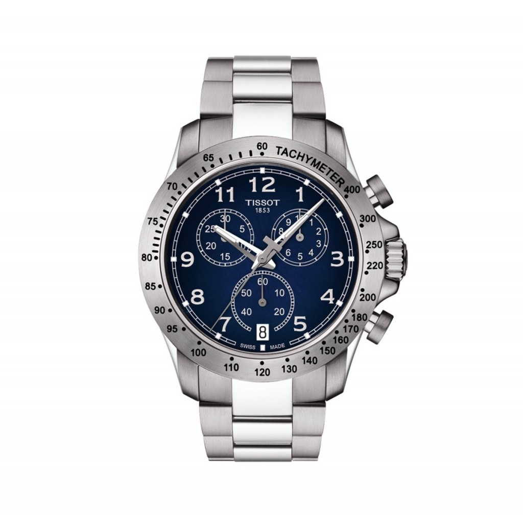 Tissot V8 Men's Watch with blue dial and stainless steel case